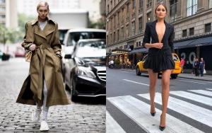 Culorile anului 2019 în modă. Elsa Hosk streetstyle în trench vernil și Olivia Culpo streetstyle sexy