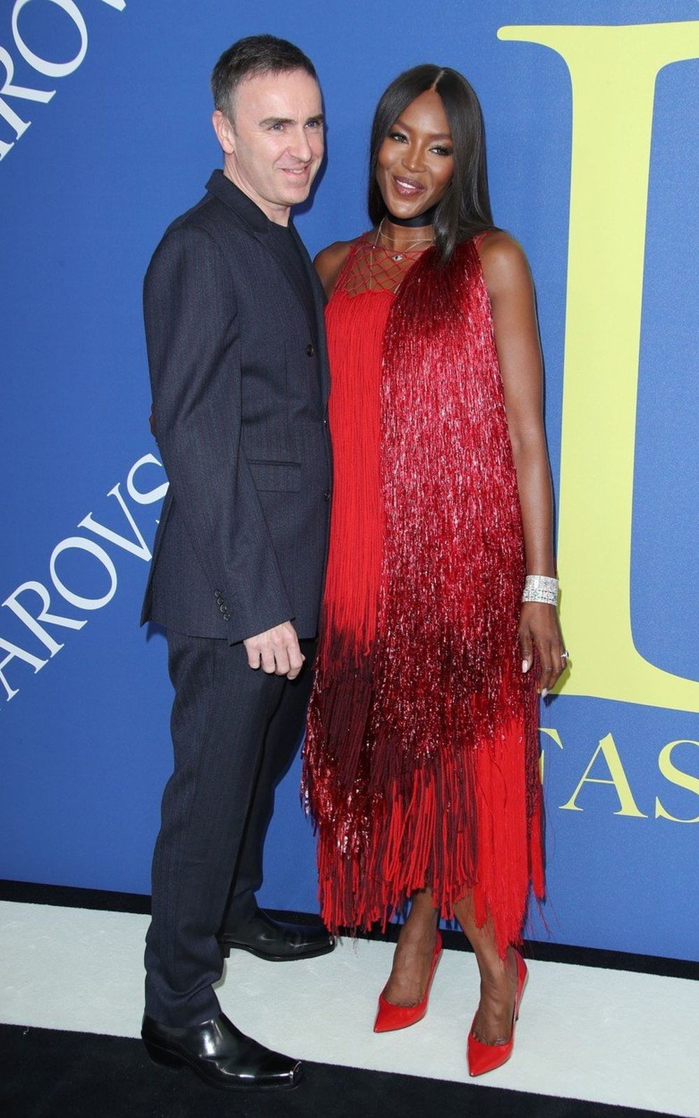 Raf Simons și Naomi Campbel la CFDA Fashion Awards