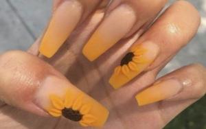Unghii de vară - Colourful french. Unghii foarte lungi, pătrate, french colorat, model cu floarea soarelui, unghii galbene