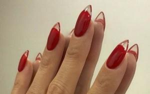 Unghii de vară - Reversed french. Unghii lungi, stiletto, french inversat roșu