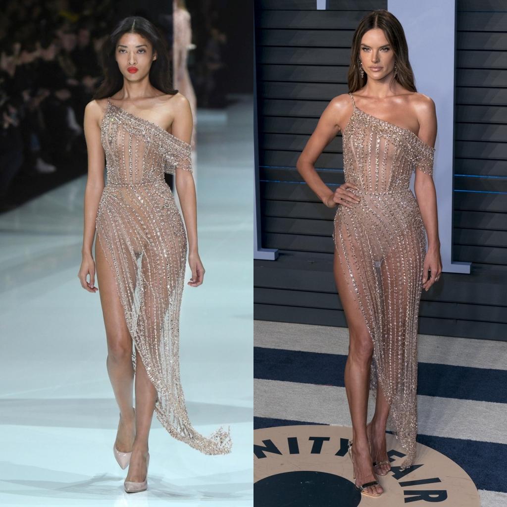 Fostul îngeraș Victoria's Secret, într-o rochie Ralph and Russo din colecția de primăvară-vară 2018-2019