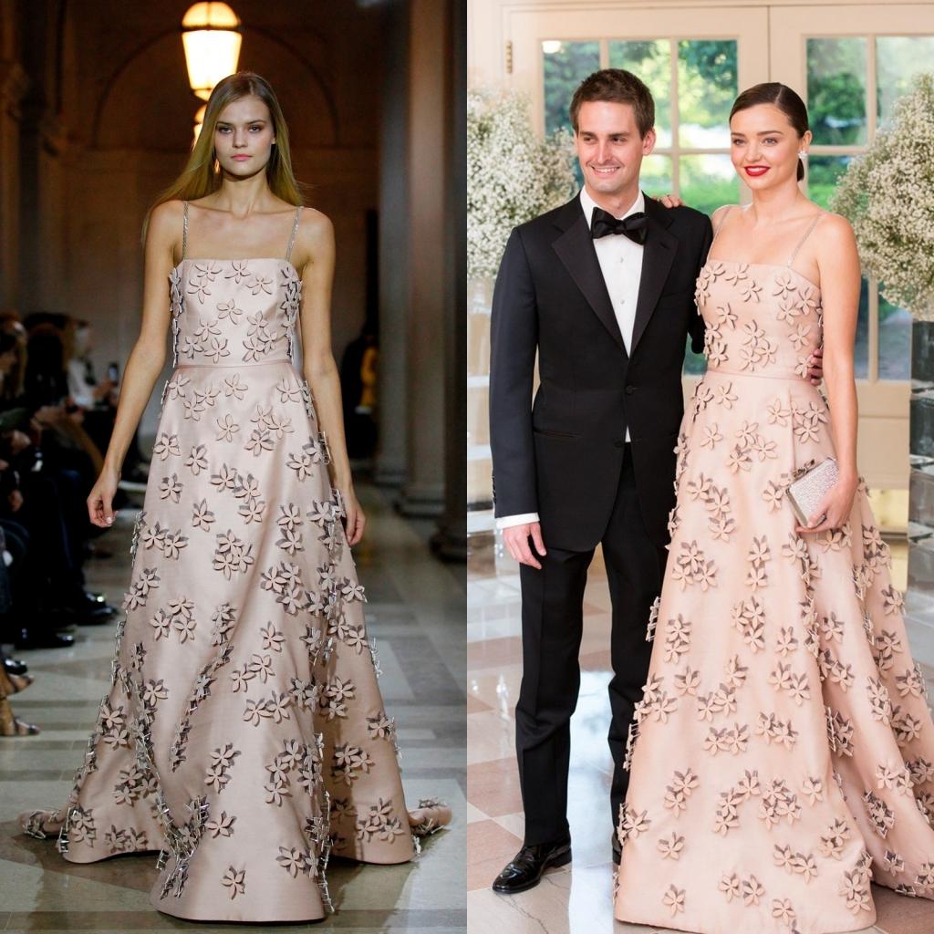 Fostul îngeraș Victoria's Secret, într-o rochie a brandului Carolina Herrera din colecția toamnă-iarnă 2016