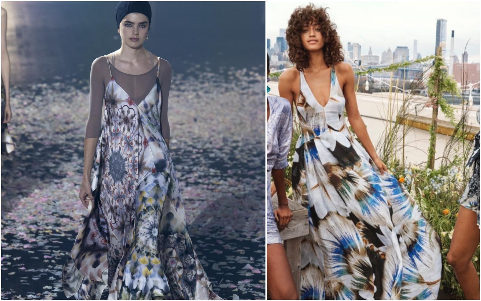 Uuups! Diafană într-o rochie lungă, cu imprimeu: Dior sau H&M?