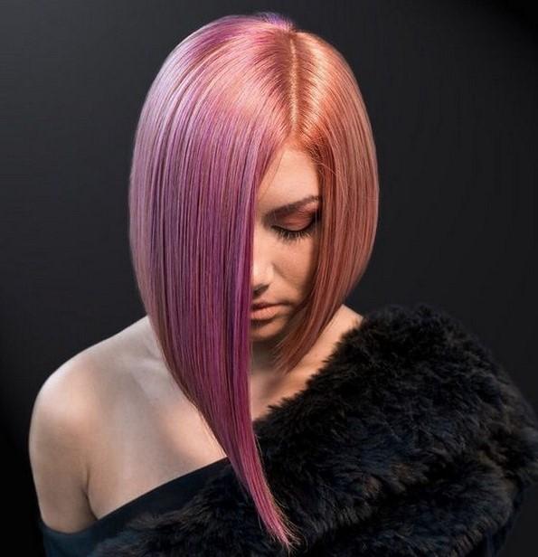 Ce tunsori se poarta 2020. Foto femeie tunsa bob cu parul vopsit roz