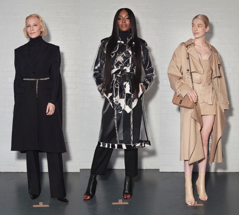 Cate Blanchett, Naomi Campbell şi Hunter Schafer la prezentarea Burberry Foto: Instagram