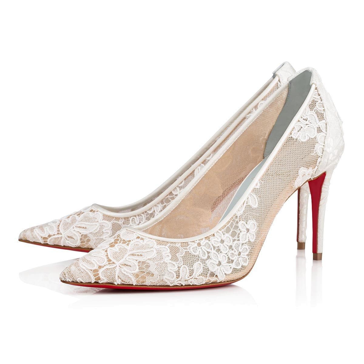 Pantofi stilettos de mireasa dantela Christian Louboutin